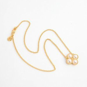Tory Burch Pearl Four Leaf Flower Rope Necklace